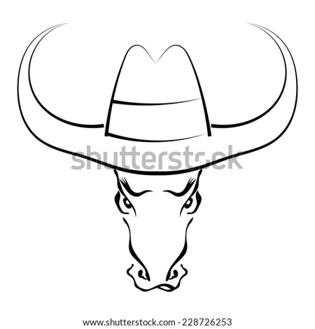 Black silhouette of the full face of the muzzle of a bull in a cowboy hat isolated on white background. Trademark farm. Vector illustration. - stock vector