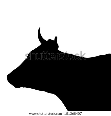 Black silhouette of the head of a cow - stock vector