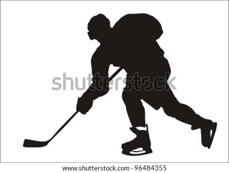 Black silhouette of the hockey player - stock vector