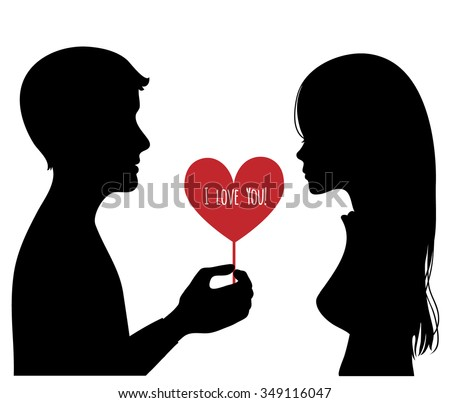Black silhouette of young couple. Man presents a heart to woman. Vector image - stock vector