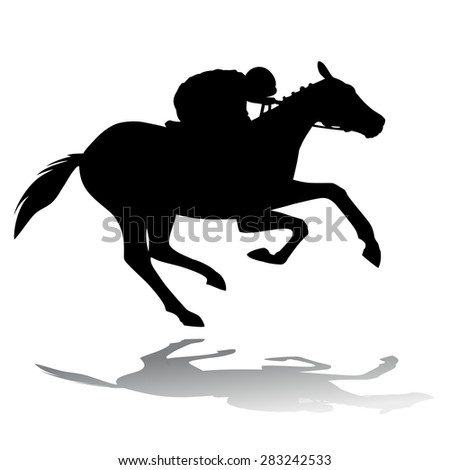 black silhouette rider on horse, white background , isolated illustration - stock vector