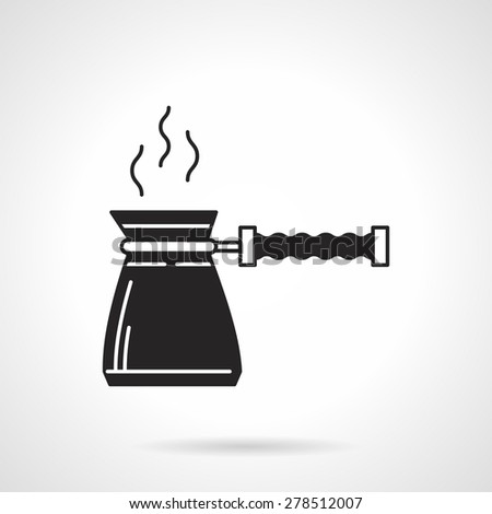Black silhouette vector icon for coffee pot on white background. - stock vector
