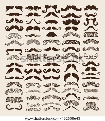 Black silhouette vector mustache. Mustache black hair and man mustache hipster set. Mustache retro curly black silhouette collection beard mustache. Mustache barber silhouette hairstyle - stock vector