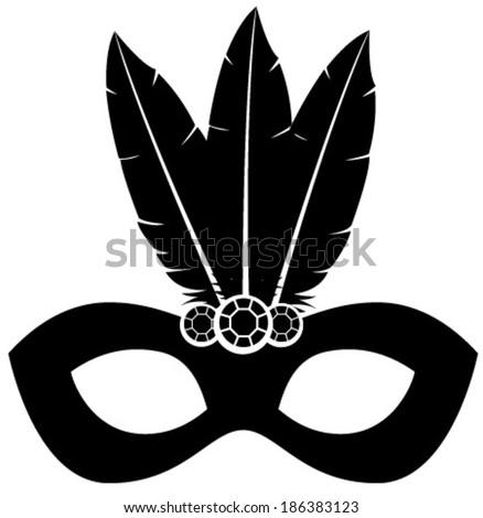 black silhouette venetian mask - stock vector