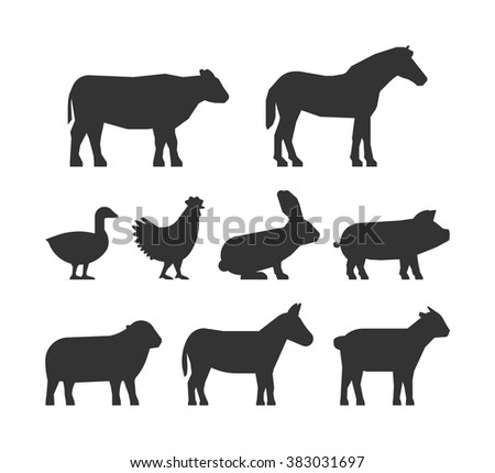 Black silhouettes farm animals isolated on white background. Cow, pig, rabbit, donkey, horse, goat, sheep, goose and chicken. - stock vector
