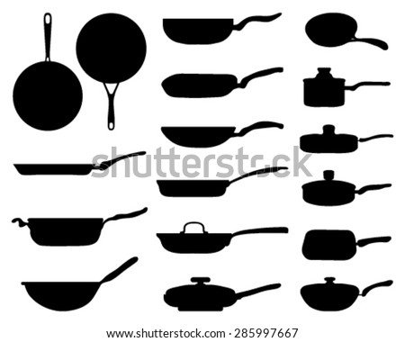 Black silhouettes of a frying pan - stock vector