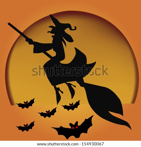 black silhouettes of a witch flying in a broom with some bats in a yellow moon - stock vector