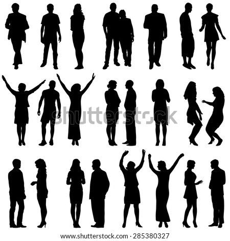 Black silhouettes of beautiful mans and womans on white background. Vector illustration. - stock vector
