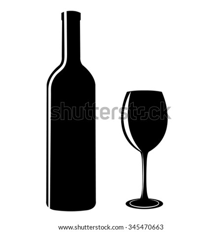 black silhouettes of bottles and glasses on a white background  - stock vector