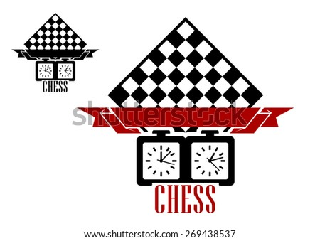 Black silhouettes of chess board and clock with blank ribbon babber isolated on white background suitable for chess match emblem or logo design - stock vector