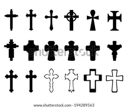 Black silhouettes of crosses, vector illustration - stock vector