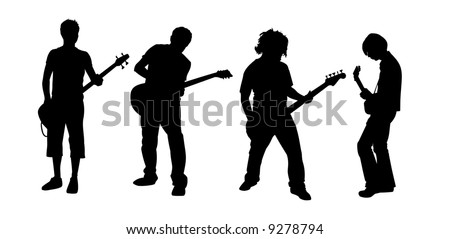 black silhouettes of four young guitar players - stock vector