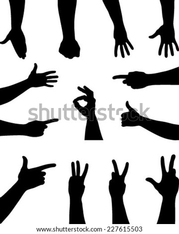 Black silhouettes of hands. vector - stock vector