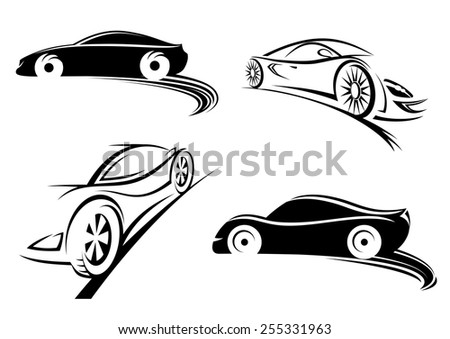 Black silhouettes of sports speed racing car in doodle sketch style isolated on white background for sporting and automotive design - stock vector