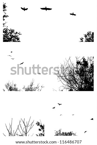 Black silhouettes of trees and flying birds isolated on white background - stock vector