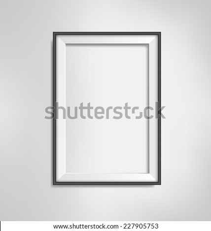 Black simple modern blank frame on grayscale background - stock vector