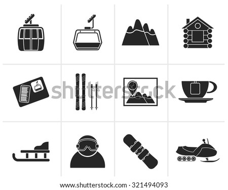 Black Ski Track and sport icons - vector icon set - stock vector