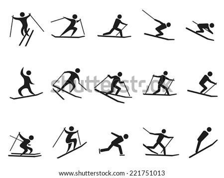 black skiing stick figure icons set - stock vector