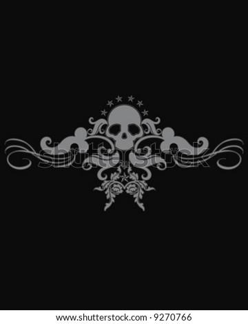 black skull floral - stock vector