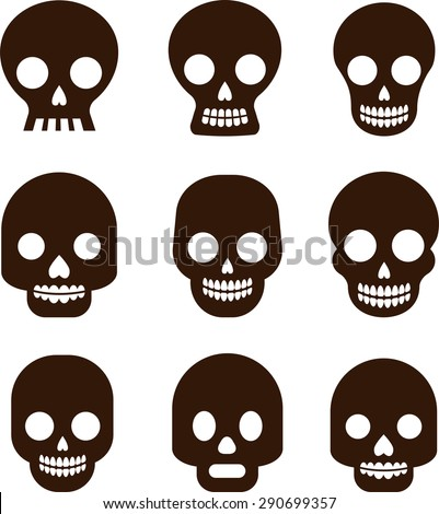Black skull set, Mexican day of the dead - stock vector