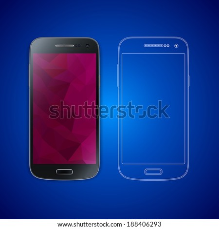 Black smart phone photo realistic vector illustration with wireframe / blue print copy and modern screen background. Isolated electronic device concept. - stock vector
