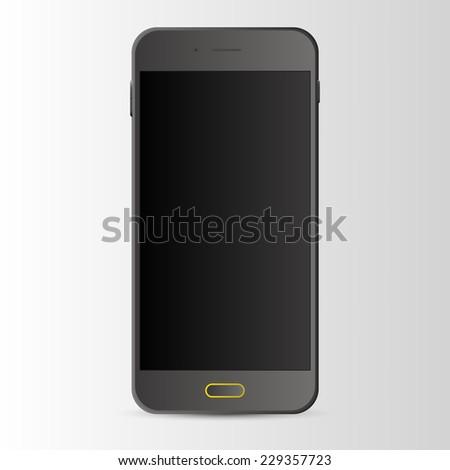 Black Smart Phone With Blank Screen Vector - stock vector