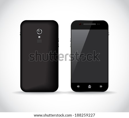 Black smartphone from a front and back sides, illustration - stock vector