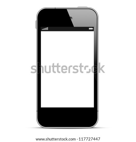 Black smartphone isolated on white background. Vector eps10 - stock vector