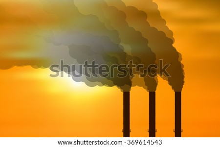 black smoke floating from Multiple smokestack with the sun at evening or morning under yellow sky background (vector) - stock vector