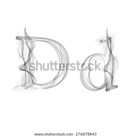 Black Smoke font on white background. Letter D. Vector illustration alphabet - stock vector