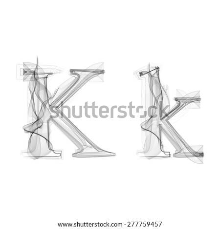 Black Smoke font on white background. Letter K. Vector illustration alphabet - stock vector