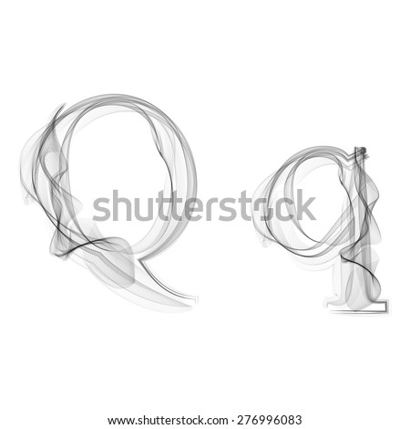 Black Smoke font on white background. Letter Q. Vector illustration alphabet - stock vector
