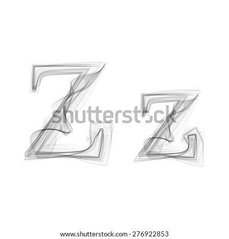 Black Smoke font on white background. Letter Z. Vector illustration alphabet - stock vector