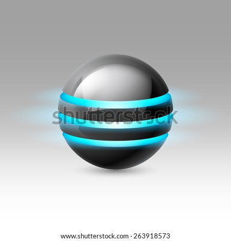 Black smooth ball of the future with blue luminescent bands - stock vector