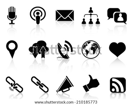 black social communication icons set - stock vector