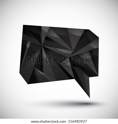 Black speech bubble geometric icon made in 3d modern style, best for use as symbol or design element. - stock vector