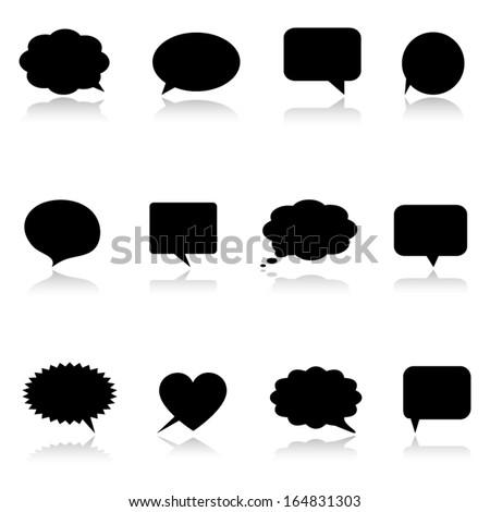 Black speech bubbles - stock vector