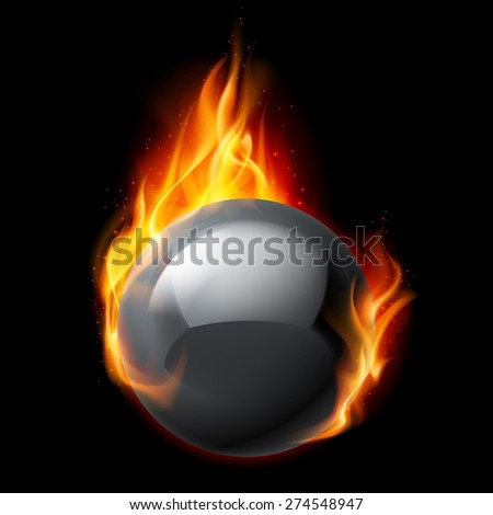 Black sphere in flames on a black background - stock vector