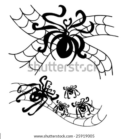 Black Spiders Tattoo-Vector image - stock vector