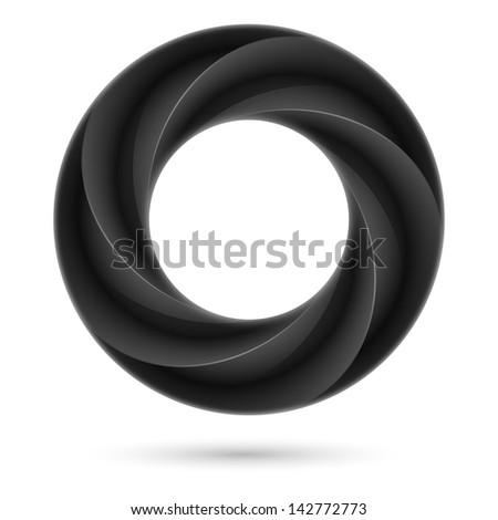 Black spiral ring. Illustration on white background - stock vector