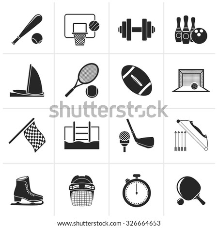 Black Sport objects icons - vector icon set - stock vector