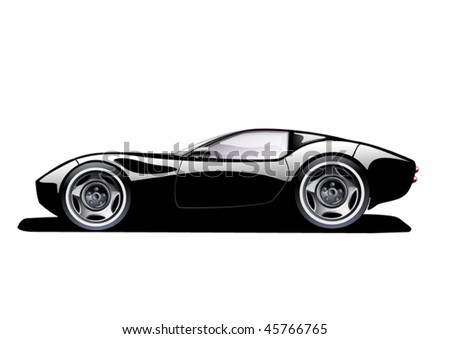 black sports car on white background, vector illustration, original design - stock vector