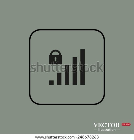 Black square frame on a green background. signal strength indicator, closed access , vector illustration, EPS 10 - stock vector