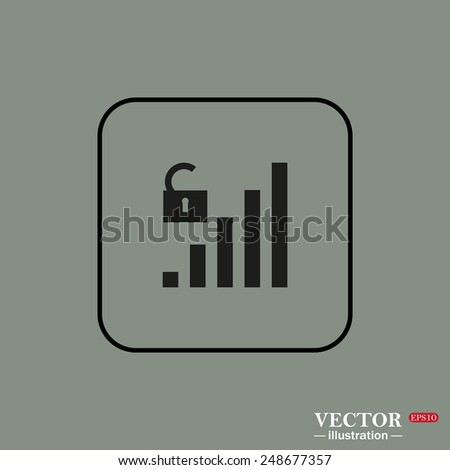 Black square frame on a green background. signal strength indicator, open access , vector illustration, EPS 10 - stock vector