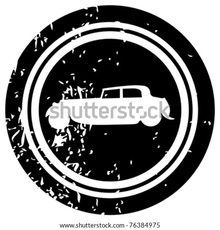 Black stamp with white hot rod - stock vector