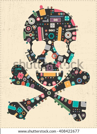 Black steam punk skull with colorful element shapes on yellow grunge background. vector illustration - stock vector
