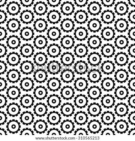 Black steampunk gear seamless pattern - stock vector