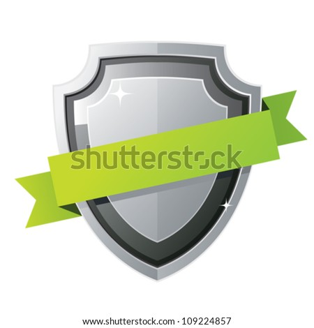 Black steel shield with green ribbon - stock vector