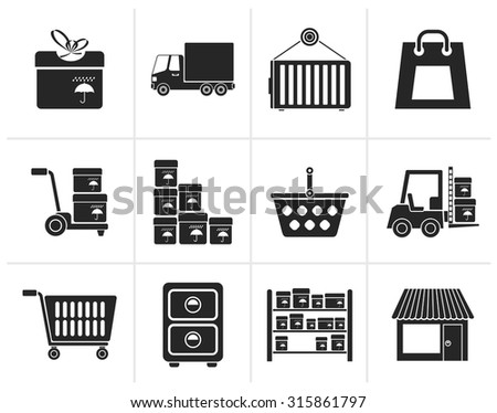 Black Storage, transportation, cargo and shipping icons - vector icon set - stock vector