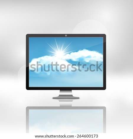 Black stylish glossy widescreen TFT display with blue sky and clouds, vector illustration, - stock vector